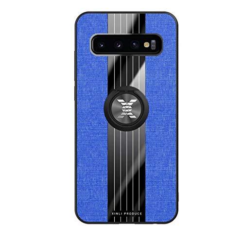 FHXD Compatible con Funda Samsung Galaxy S10 Plus Ultrafina Patrón de Textura de la Tela Caso+1*Protector de Pantalla Soporte de Anillo Giratorio de 360 ° Anti-Shock Cubierta-Azul