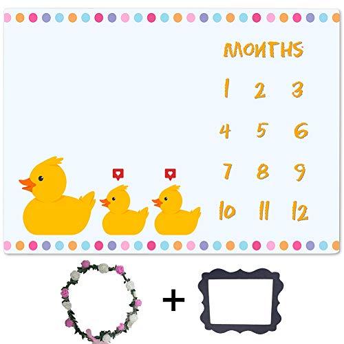 Monthly Baby Blanket Yellow Rubber Duck Milestone Blanket Girl, Memory Blanket for Newborn Baby Shower, Month and Age Blanket for Baby Nursery, 60'x40' BTZDLU97