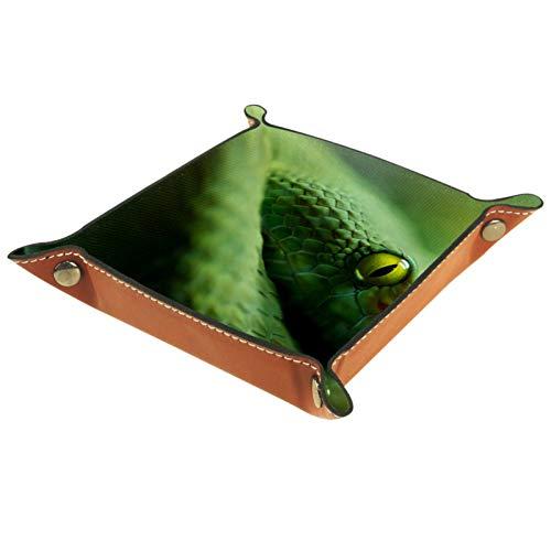 KAMEARI Bandeja de cuero verde serpiente para monedas, monedero, monedero, cuero vacuno, práctica caja de almacenamiento para carteras, relojes, llaves, monedas, teléfonos móviles y equipo de oficina