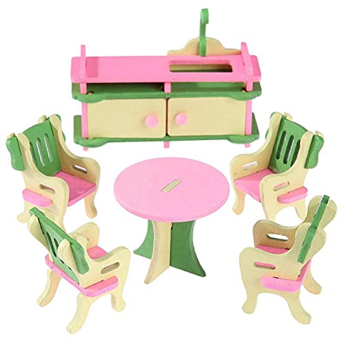 1:12 muebles de Casa de muñecas de madera en miniatura baño dormitorio restaurante casa de muñecas accesorios decoración para niños niñas juguetes (Cocina - A)