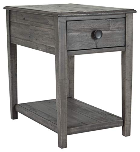 Signature Design by Ashley - Borlofield Rectangular End Table w/ Fixed Shelf, Dark Gray