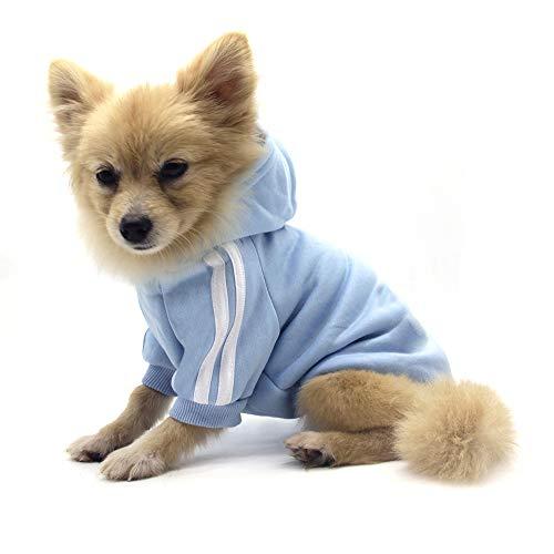 QiCheng&LYS Hundemantel Hund Hoodies Kleidung, Pet Puppy Katze Niedlicher Baumwoll Warm Hoodies Coat Pullover (L, blau)