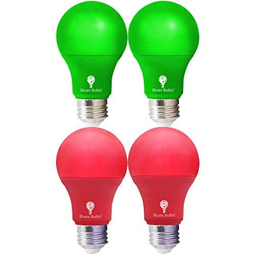 4 Pack A19 LED Red Light Bulb LED Green Light Bulb 120V E26 Base 9 Watt (60-watt Replacement) Red Bulb Red Bulb, Party Decoration, Porch, Home Lighting, Christmas Light Bulbs