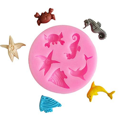 3D Fondant Kuchenform Meerestiere Fisch/Krabben/Seestern Delphin Dekoration Silikon Küche DIY Werkzeug