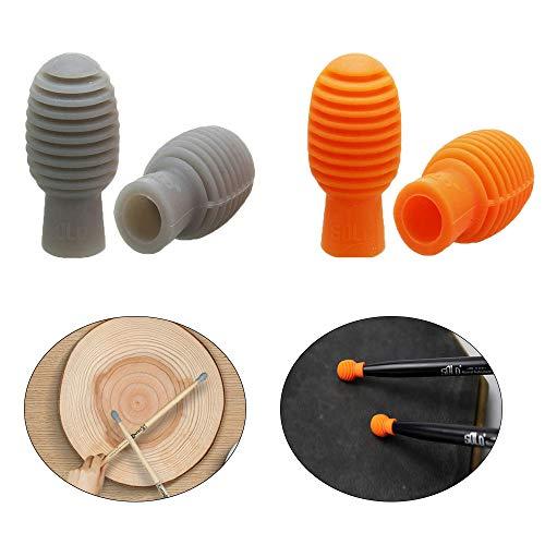 4 Piezas Amortiguador de Tambor, Baquetas Silenciosas, Tambor Mudo, Amortiguador de Tambor de Silicona Para Accesorios de Instrumentos Musicales de Repuesto (Naranja y Gris)
