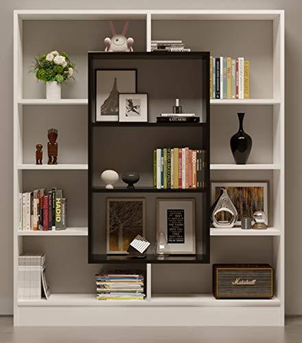 Homidea Venus Bücherregal - Standregal - Büroregal - Raumteiler für Wohnzimmer/Büro in modernem Design (Weiß/Schwarz)