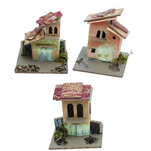Set 6 Casette Casolari con Muschio Presepe 9x9x h. 10 Centimetri Medie Colorate Miniatura Box 4 Fantasie assortite presepio Napoletano Villaggio Scenario Ville Decorazione Natalizie