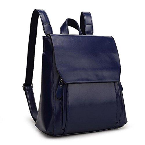 DcSpring Zaino in PU Pelle Zainetto Zaini Borsa Sacchetti di Scuola Zip Vintage da Viaggio Lavoro per Donna (Blu)