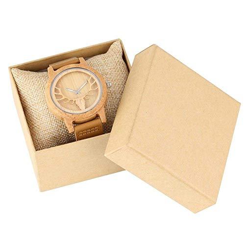 DZNOY Reloj de madera de ciervo reloj de cabeza hueca de alce reloj de cuarzo para hombres y mujeres, caja de bambú, reloj de pulsera de cuero unisex para hombres y mujeres (color : reloj con caja)