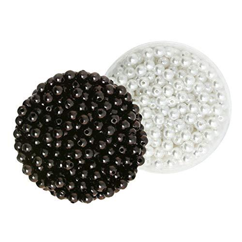 Colcolo Perle di Plastica ABS di Colore Misto Nero Bianco da 1000 Pezzi all'Ingrosso da 6 Mm