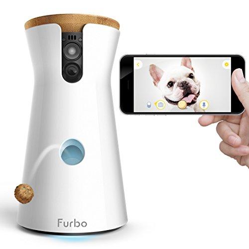 Furbo Hundekamera: Full HD Wifi Haustierkamera mit 2-Wege-Audio, Leckerli-Wappen, Nachtsicht und Bellen-Alarm, entworfen...
