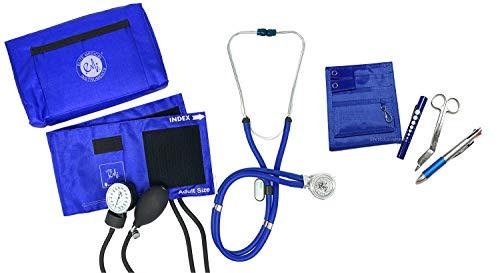 EMI NK-330-6 Piece Set - Royal Sprague Rappaport Stethoscope and Aneroid Sphygmomanometer Manual Blood Pressure Set and Pocket Organizer Nurse Kit