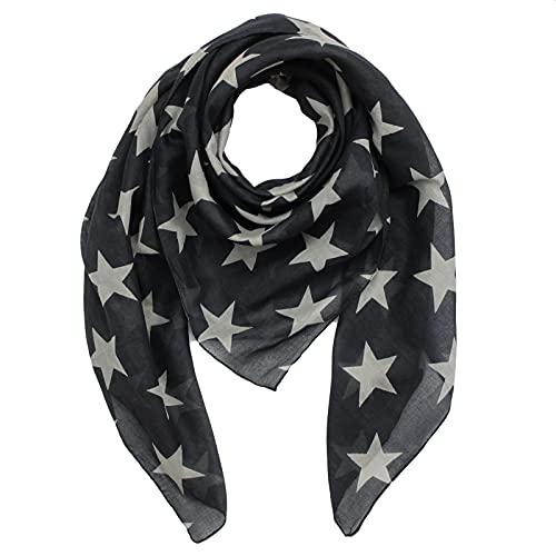Superfreak Baumwolltuch - Sterne 8 cm schwarz - grau - quadratisches Tuch