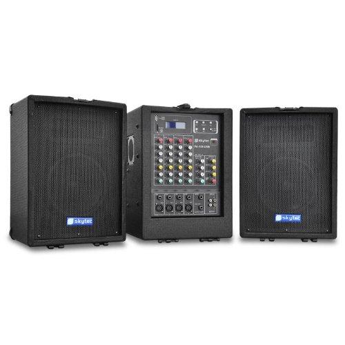 Skytec PA100 Impiando Audio Portatile Attivo Completo con Mixer 4 canali Incorporato (2 x 75 Watt RMS, ingressi USB SD MP3, Struttura a Trolley per Trasporto)