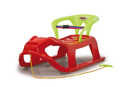 JAMARA 460366 - Snow Play Schlitten mit Lehne Snow-Star 90cm - Rückenlehne inkl. Sicherheitsband, ergonomischer Sitz, Metallkufen, Kippschutz, robuster Kunststoff, Seil mit Griff zum Ziehen, 3KG, rot
