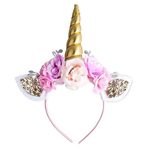 Einhorn Stirnband für Mädchen Gold Einhorn Horn Stirnband mit Ohren und Blumen für Halloween...