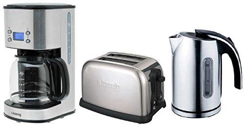 H.koenig Frühstücksset: Edelstahl-Kaffeemaschine+1,7 Liter Wasserkocher+Toaster in einem Set