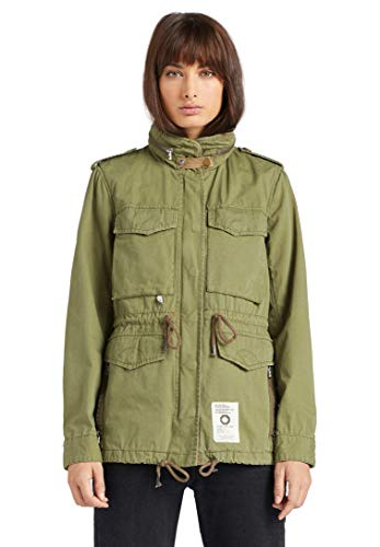 khujo Damen Jacke Paola Military Parka Sommerjacke einfarbig Kapuze Stehkragen
