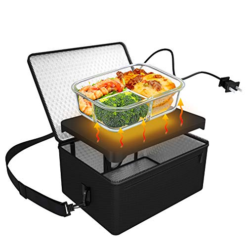 Portable Oven, 110V Portable Food Warmer Personal Portable Oven Mini Electric Heated Lunch Box for Reheating & Raw Food Cooking in Office, Travel, Potlucks and Home Kitchen (Black)