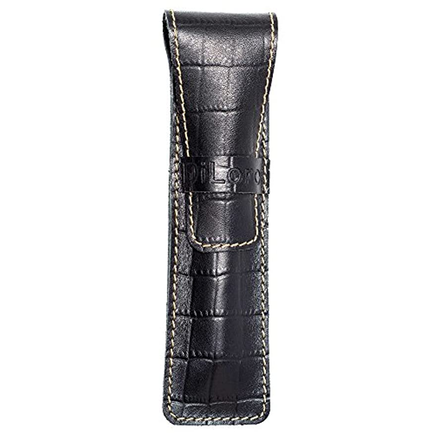 DiLoro Full Grain Top Quality Genuine Leather Single Pen Case Sleeve Holder Pouch (Buffalo Black Croc Print)