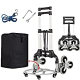 EAQ Stair Climber Cart,3–Level Height Adjustable Aluminum Portable Folding Hand Truck with 6 TPR Silent Wheels and Detachable Waterproof Bag for Multi-Use