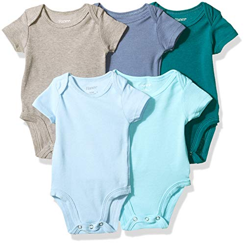 Hanes Ultimate Baby Flexy 5 Pack Short Sleeve Bodysuits, Blues, 0-6 Months