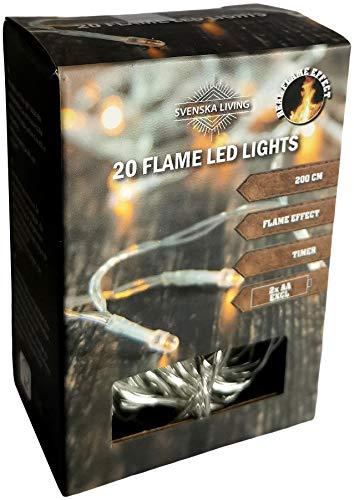 LED Lichterkette Batterie Timer Flammeneffekt Flamme warmweiß für innen oder außen (20er für innen)