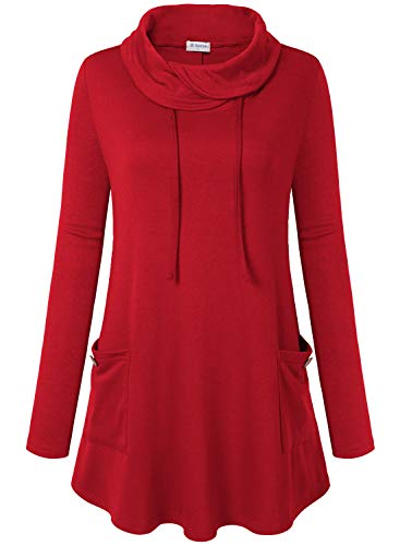 Bulotus Red Sweaters for Women Cowl Neck Tunic Tops Sweatershirt Long Sleeve with Pocket (Medium, Red)