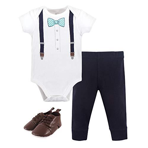 Little Treasure Unisex Baby Cotton Bodysuit, Pant and Shoe Set, Mint Stripe Bow Tie, 12-18 Months
