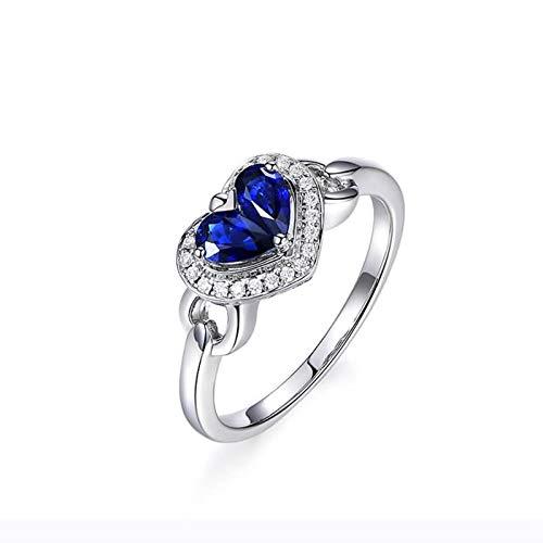 Ubestlove Mens Engagement Ring White Gold Girls Christening Gifts Engraved Double Heart Ring H 1/2
