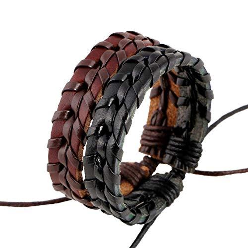 Wean Pack de 2 pulseras de cuero estilo vintage punk hippy cuerda pulsera multicapa negro marrón para hombre mujer