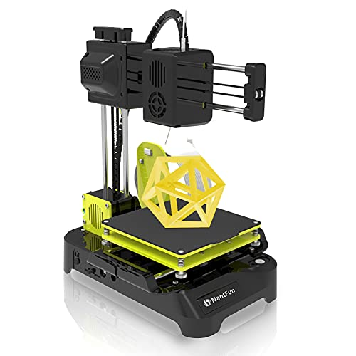 """NantFun DIY 3D Printer for Kids, Mini 3D Printer for Beginners, Upgraded Extruder Technology Small 3D Printer Fast Heating Low Noise with Free PLA Filament Printing Size 4""""×4""""×4"""" Black & Yellow"""