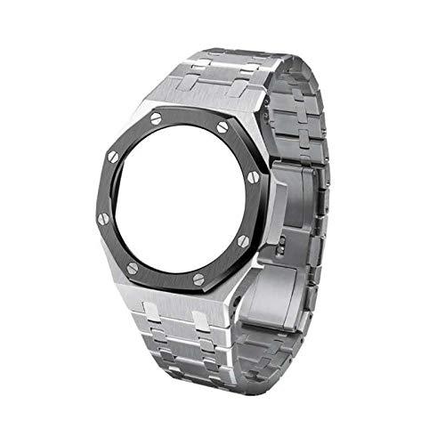 Flyuzi Bisel de Reloj de Reloj GA2110 GA2110 de la Tercera generación GA2100 Bisel de Reloj de Reloj para Casio G GA-2100 Relojes para Hombre Accesorios de reemplazo (Band Color : Silver B)