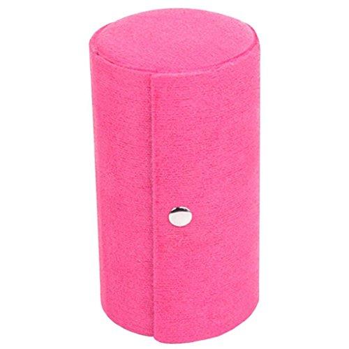 bodhi2000® 3Tier pequeño portátil de viaje joyas caja de almacenamiento rollo caso organizador soporte, rojo rosado, talla única