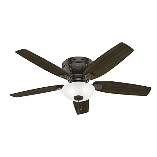 Hunter Kenbridge Indoor Low Profile Ceiling Fan with LED Light and Pull Chain Control