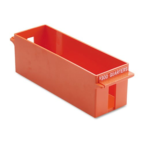 MMF Industries Porta-Count Extra-Capacity Rolled Coin Quarter Storage Tray, 3.38 x 3.63 x 11.5 Inches, 300 Dollar Capacity, Orange (212072516)