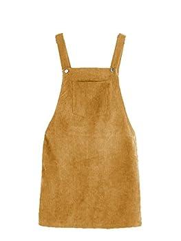 ROMWE Women s Straps A-line Corduroy Pinafore Bib Pocket Overall Dress Yellow Large