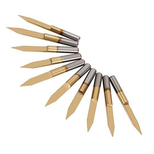 10 Piezas 3.175mm Herramienta de Tallado,30 Degree Tip 0.2mm Conjunto de Fresas CNC Cuchillo Recubierto de Titanio Molino Grabado Bits Fuerte y Dura con Caja de Plástico