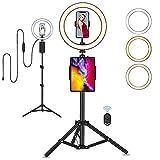 "Anillo de Luz, Eletorot Aro de Luz 10"" Ring Light LED Fotográfica 3 Colores 10 Brillos con Soporte Giratorio de teléfono y Remoto Bluetooth para Selfie,Maquillaje,Tiktok,Live Stream,Volg,Youtube"