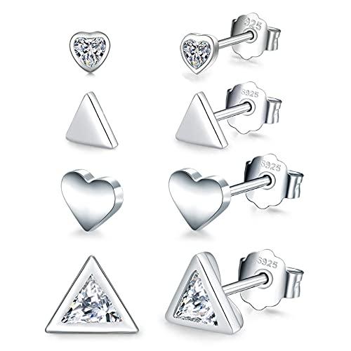 WHFY Pendientes de botón de plata esterlina 925 brillantes y bonitos  4 pares de diminutos aretes de circonita cúbica con forma de triángulo geométrico en forma de corazón  Car