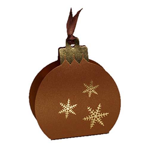 Ballotins à dragées - boites à Chocolat Noël Forme Boule de Noël Couleurs au Choix x6 noël Mariage baptême Communion Anniversaire- (Nacré Bronze imp. Or)