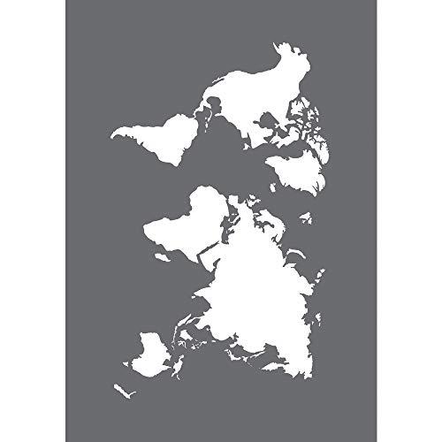 Rayher 45100000 Schablone World Map, Format DIN A5, mit Rakel, Siebdruck-Schablone, Malschablone, selbstklebend