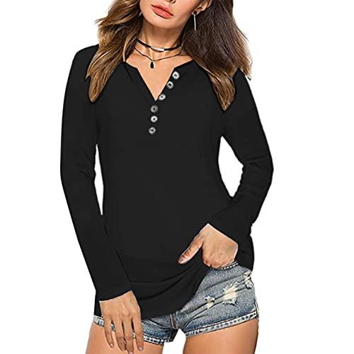 Hevoiok Herbst Langarm T-Shirt Damen Mode Sexy Knopf O Hals Shirt Bluse Spitze Patchwork Slim Fit Tops Oberteile (Schwarzer, M)