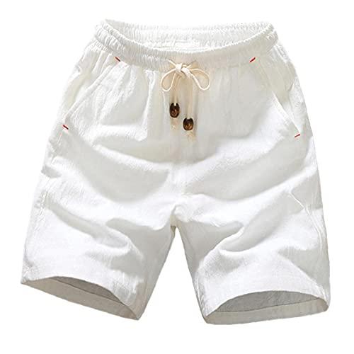 Summer New Cotton Shorts Loose Casual Short Joggers Zwart Wit koord aan bermuda Heren