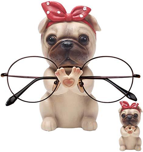 Welpen Hund Form Brillenhalter Halter,Brillenhalter für Zuhause,Entwurfs-handgemachte brillenständer,Office Schreibtisch Dekor Tier Brille Halter,niedliche Tierhalter (Mops)