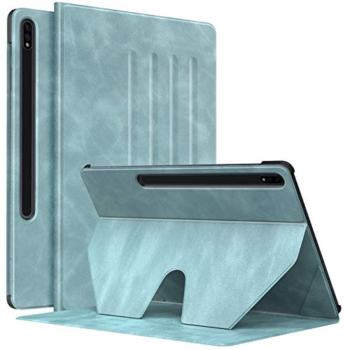 MoKo Tablet Case Compatible With Samsung Galaxy Tab S7 Plus 2020, Slim Cover Shell Case with Auto-Wake/Sleep & Multi-Angle Stand Fit Samsung Galaxy Tab S7 Plus 12.4' 2020 SM-T970/976/T975, Cloud Blue