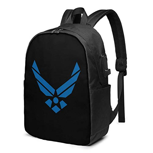 Lawenp America air Force USA United States Laptop Backpack with USB Charging Port, Business Bag, Bookbag | Fits Most 17 Inch Laptops and Tablets