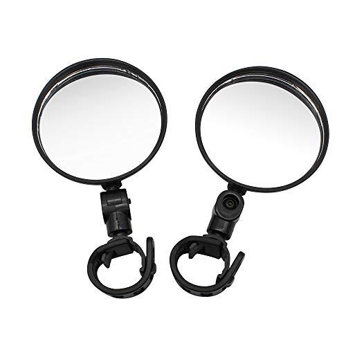 Dylan-EU 1 par de Espejos de Bicicleta Espejos Retrovisores de Bicicleta de Plástico Negro Espejo de Manillar Ajustable de 360 ° Espejo Convexo para Bicicleta de Montaña y Carretera