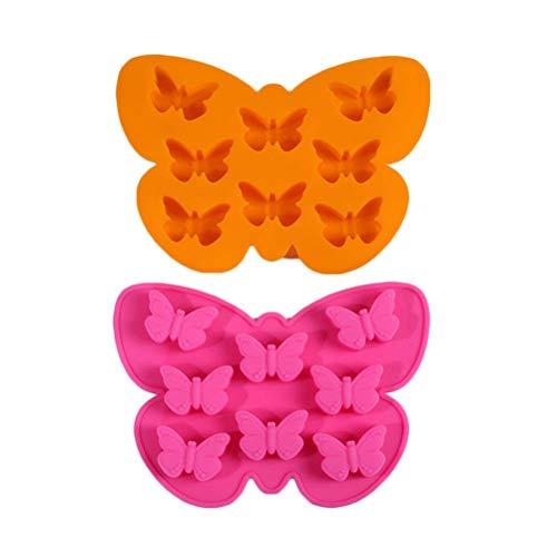 Lseqow Antihaft-Silikon-Pralinen-Backformen, Schmetterlingskuchenform, Schmetterlingsförmige Eiswürfelschalen, zum Backen von Kuchen-Seifenbrot-Muffins