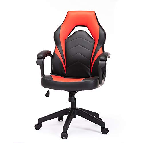 Gaming Chair, Racing Style Ergonomic Executive Computer Office Chair Bonded Leather with Lumbar Support and Padding Armrest,Red